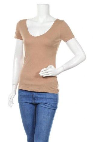 Дамска тениска H&M, Размер S, Цвят Кафяв, Памук, Цена 13,65лв.
