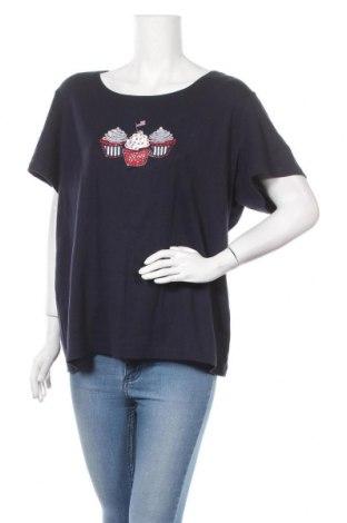Дамска тениска Karen Scott, Размер XXL, Цвят Син, Памук, Цена 13,65лв.