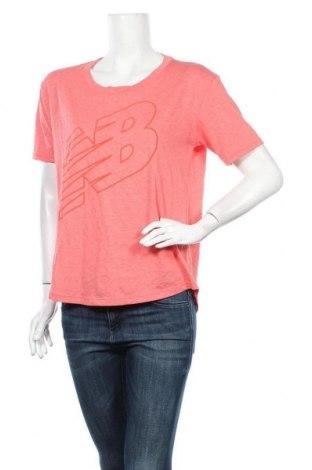 Дамска тениска New Balance, Размер M, Цвят Розов, 60% памук, 40% полиестер, Цена 22,77лв.