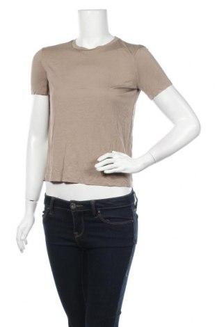 Дамска тениска Zara, Размер S, Цвят Кафяв, Вискоза, Цена 17,96лв.