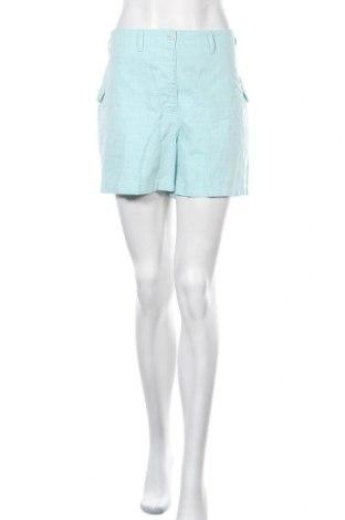 Дамски къс панталон Decathlon, Размер L, Цвят Зелен, 51% памук, 27% лен, 22% полиестер, Цена 11,60лв.