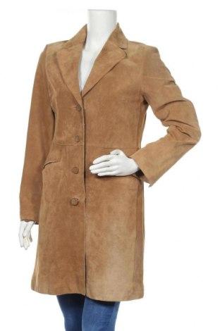 Дамски кожен шлифер H&M, Размер M, Цвят Кафяв, Естествен велур, Цена 53,24лв.