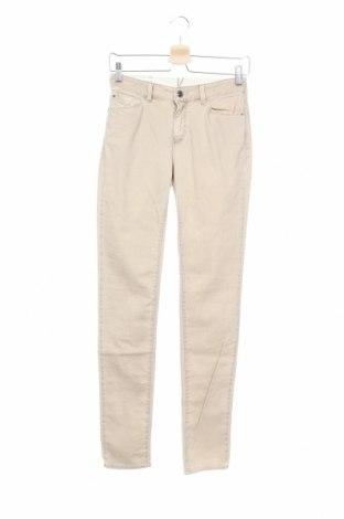Дамски панталон Emporio Armani, Размер XS, Цвят Бежов, 98% памук, 2% еластан, Цена 244,12лв.