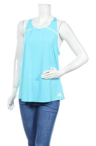 Γυναικείο αμάνικο μπλουζάκι Adidas, Μέγεθος L, Χρώμα Μπλέ, 84% πολυεστέρας, 16% ελαστάνη, Τιμή 11,82€