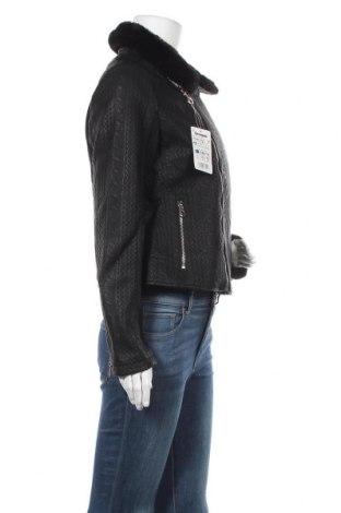 Дамско кожено яке Desigual, Размер L, Цвят Черен, Еко кожа, Цена 69,72лв.