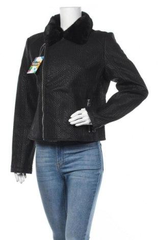Γυναικείο δερμάτινο μπουφάν Desigual, Μέγεθος XL, Χρώμα Μαύρο, Δερματίνη, Τιμή 128,35€