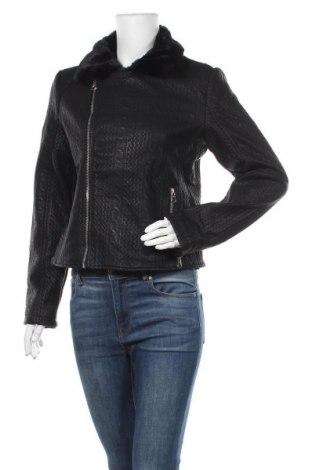 Γυναικείο δερμάτινο μπουφάν Desigual, Μέγεθος M, Χρώμα Μαύρο, Δερματίνη, Τιμή 123,20€