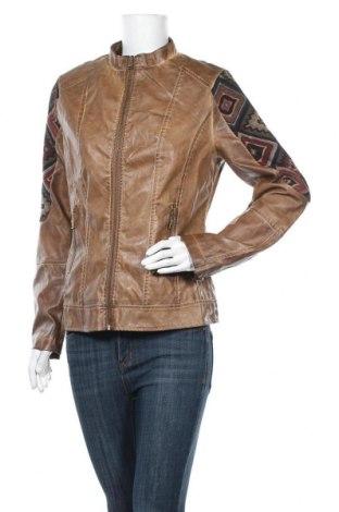 Дамско кожено яке Koroshi, Размер M, Цвят Кафяв, Еко кожа, Цена 34,44лв.