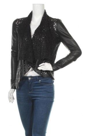 Дамско кожено яке Object, Размер XS, Цвят Черен, Еко кожа, текстил, Цена 31,24лв.