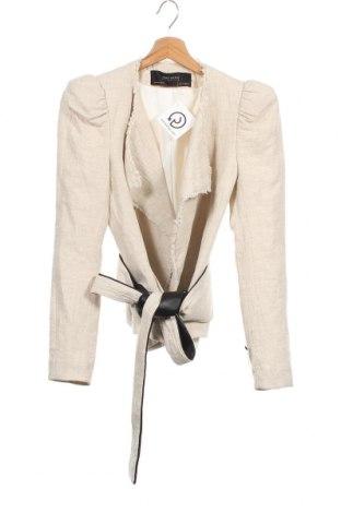 Дамско сако Zara, Размер XS, Цвят Бежов, 75% памук, 25% лен, Цена 28,50лв.
