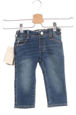 Детски дънки Armani Baby, Размер 3-6m/ 62-68 см, Цвят Син, 71% памук, 20% полиестер, 8% вискоза, 1% еластан, Цена 52,82лв.