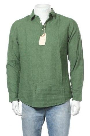 Мъжка блуза Springfield, Размер M, Цвят Зелен, 55% лен, 45% памук, Цена 39,00лв.