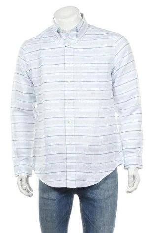 Мъжка риза Brooks Brothers, Размер M, Цвят Син, 100% лен, Цена 89,25лв.