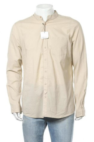Мъжка риза Piazza Italia, Размер XL, Цвят Бежов, Памук, Цена 40,95лв.