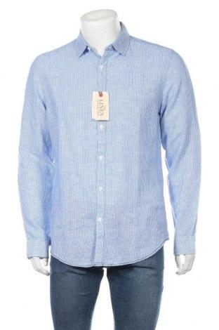 Мъжка риза Springfield, Размер L, Цвят Син, 62% лен, 38% памук, Цена 44,25лв.