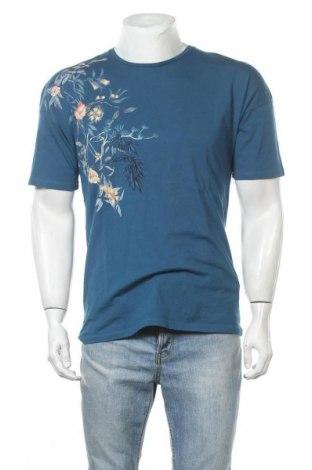 Мъжка тениска Zara Man, Размер M, Цвят Син, Памук, Цена 21,95лв.