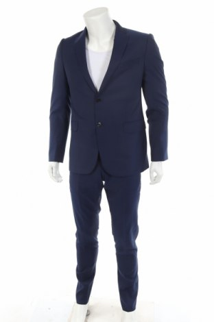 Мъжки костюм Emporio Armani, Размер M, Цвят Син, Вълна, Цена 648,97лв.