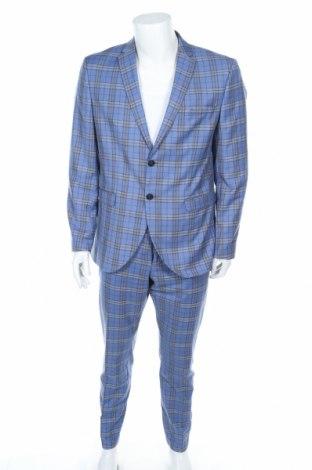 Мъжки костюм Selected Homme, Размер L, Цвят Син, 71% полиестер, 27% вискоза, 2% еластан, Цена 62,30лв.