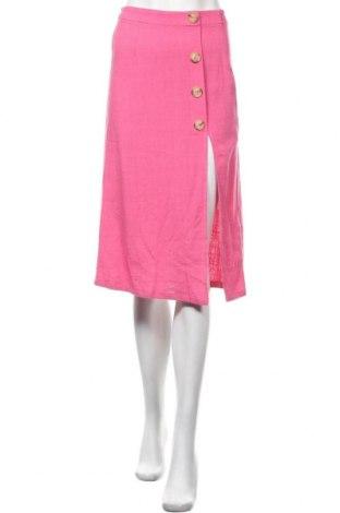 Пола Bershka, Размер XS, Цвят Розов, 80% вискоза, 20% лен, Цена 36,75лв.