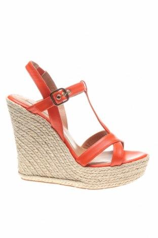 Сандали Pura Lopez, Размер 39, Цвят Оранжев, Естествена кожа, Цена 53,67лв.
