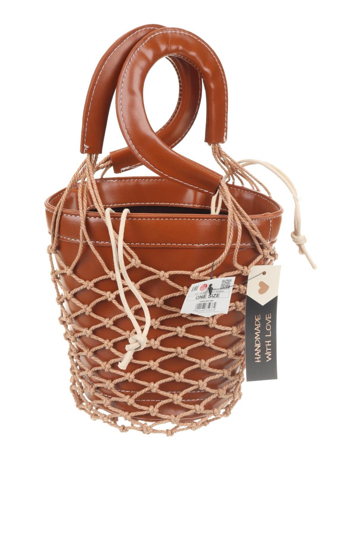Γυναικεία τσάντα Cropp, Χρώμα Καφέ, Δερματίνη, Τιμή 22,81€