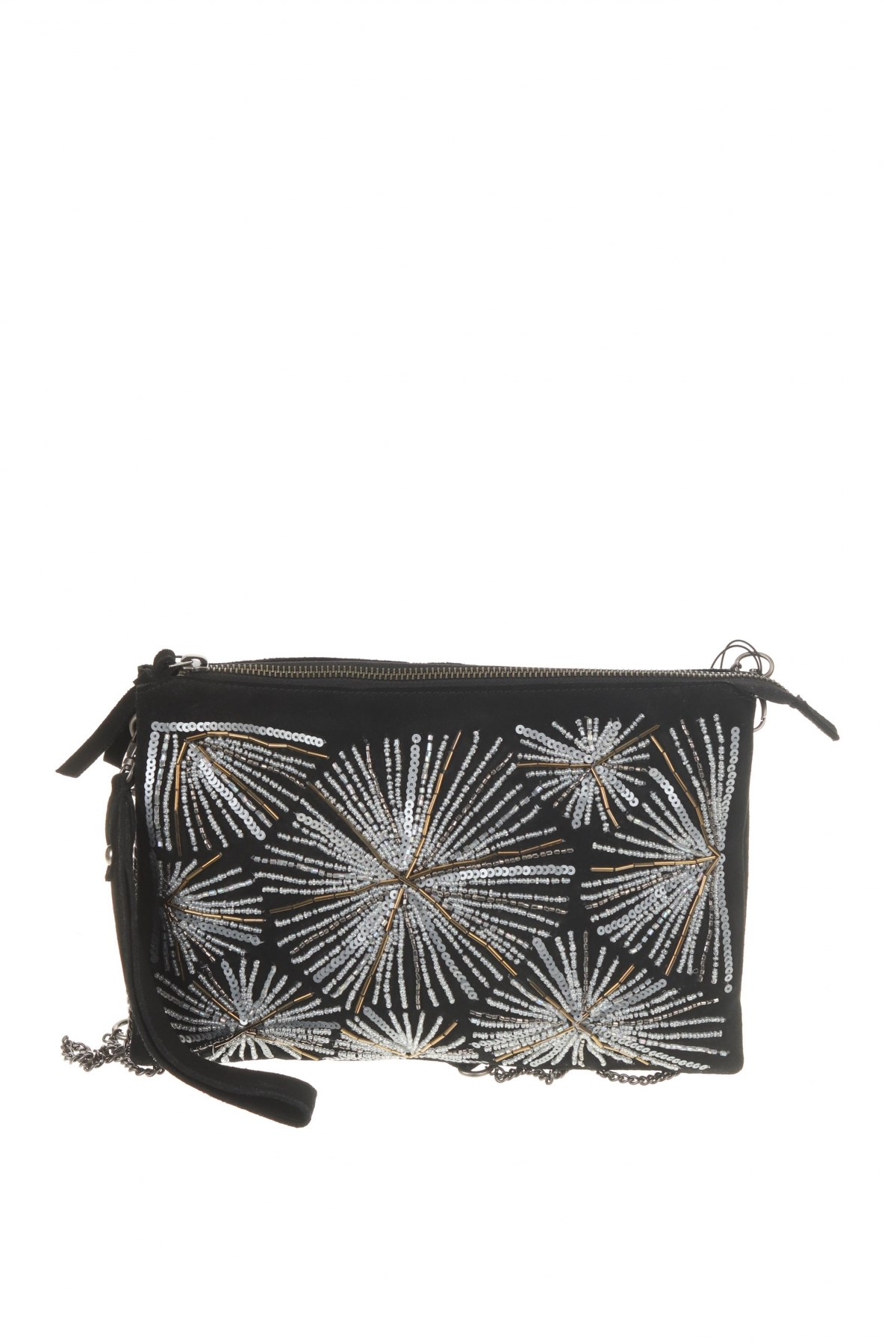 Дамска чанта Parfois, Цвят Черен, Естествен велур, Цена 35,60лв.