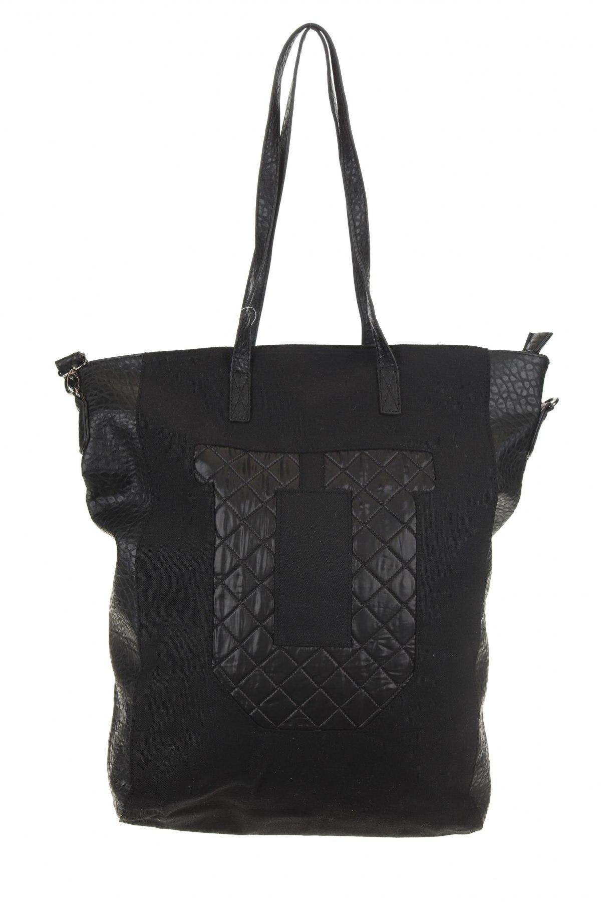 Дамска чанта Sinsay, Цвят Черен, Еко кожа, текстил, Цена 25,37лв.