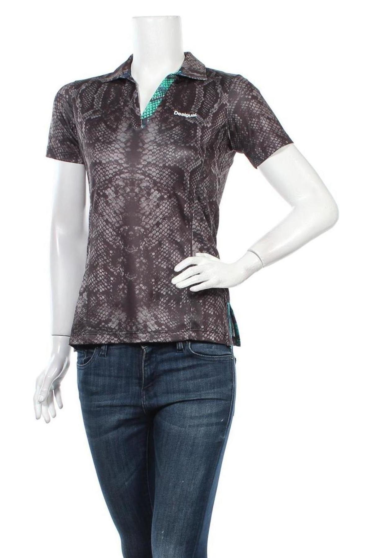 Дамска тениска Desigual, Размер S, Цвят Сив, 97% полиестер, 3% еластан, Цена 42,72лв.