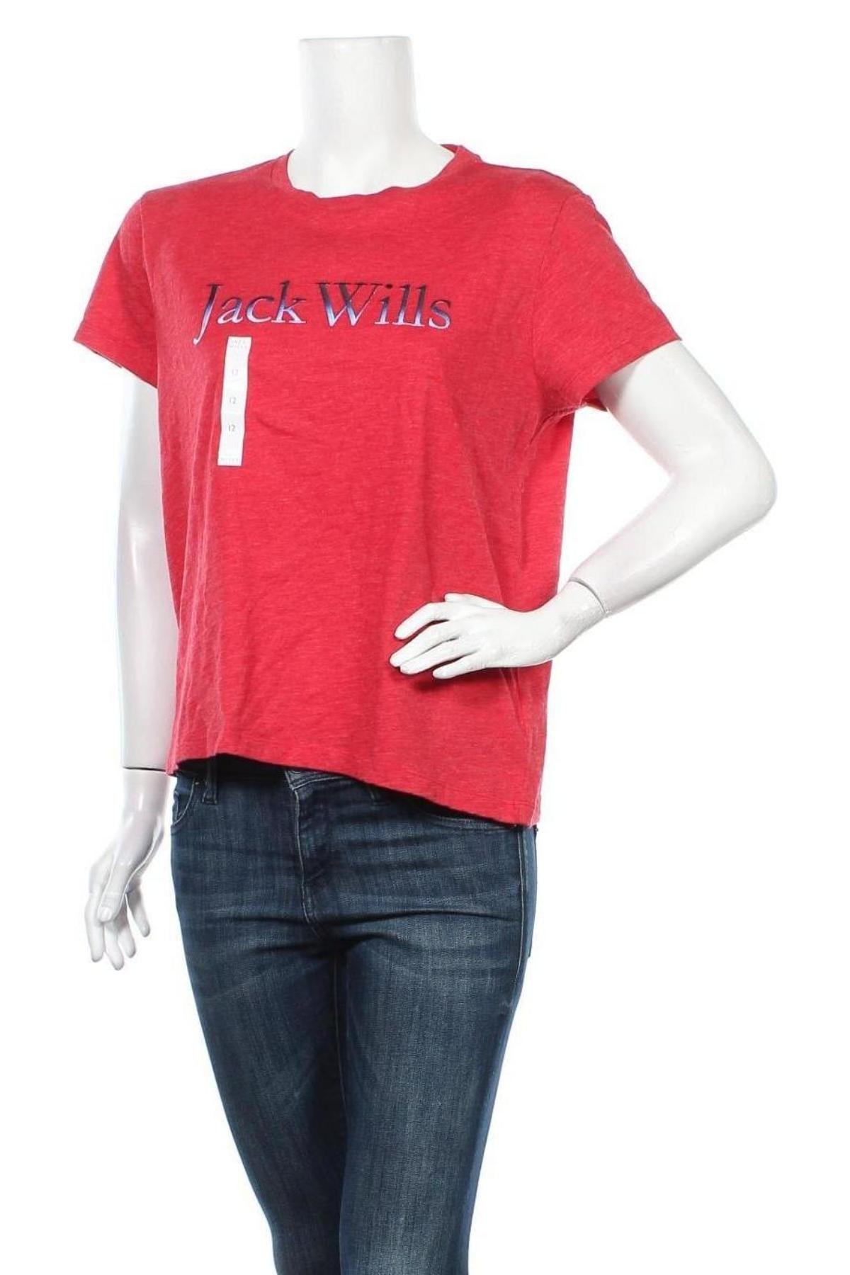 Дамска тениска Jack Wills, Размер M, Цвят Червен, 50% памук, 50% полиестер, Цена 21,45лв.