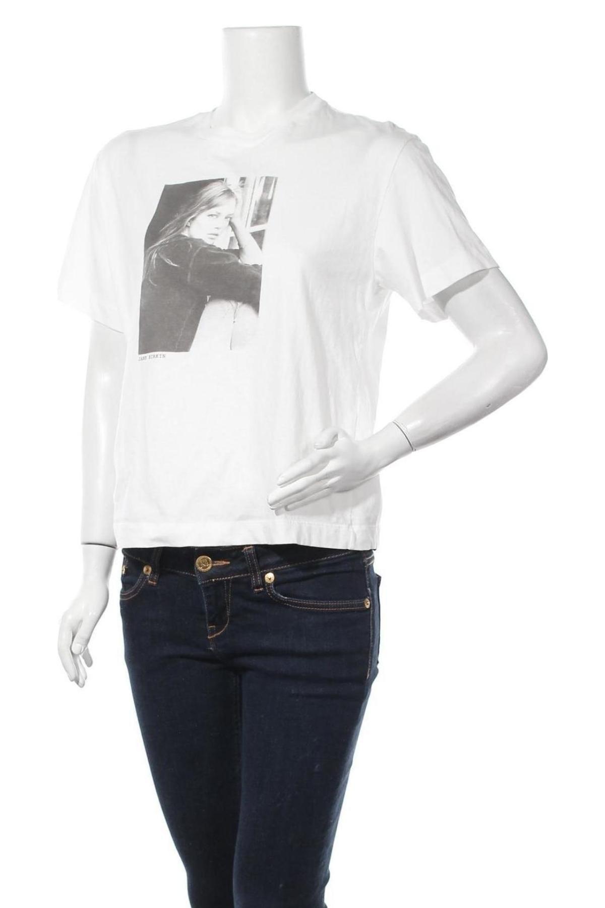 Дамска тениска Massimo Dutti, Размер S, Цвят Бял, Памук, Цена 18,24лв.