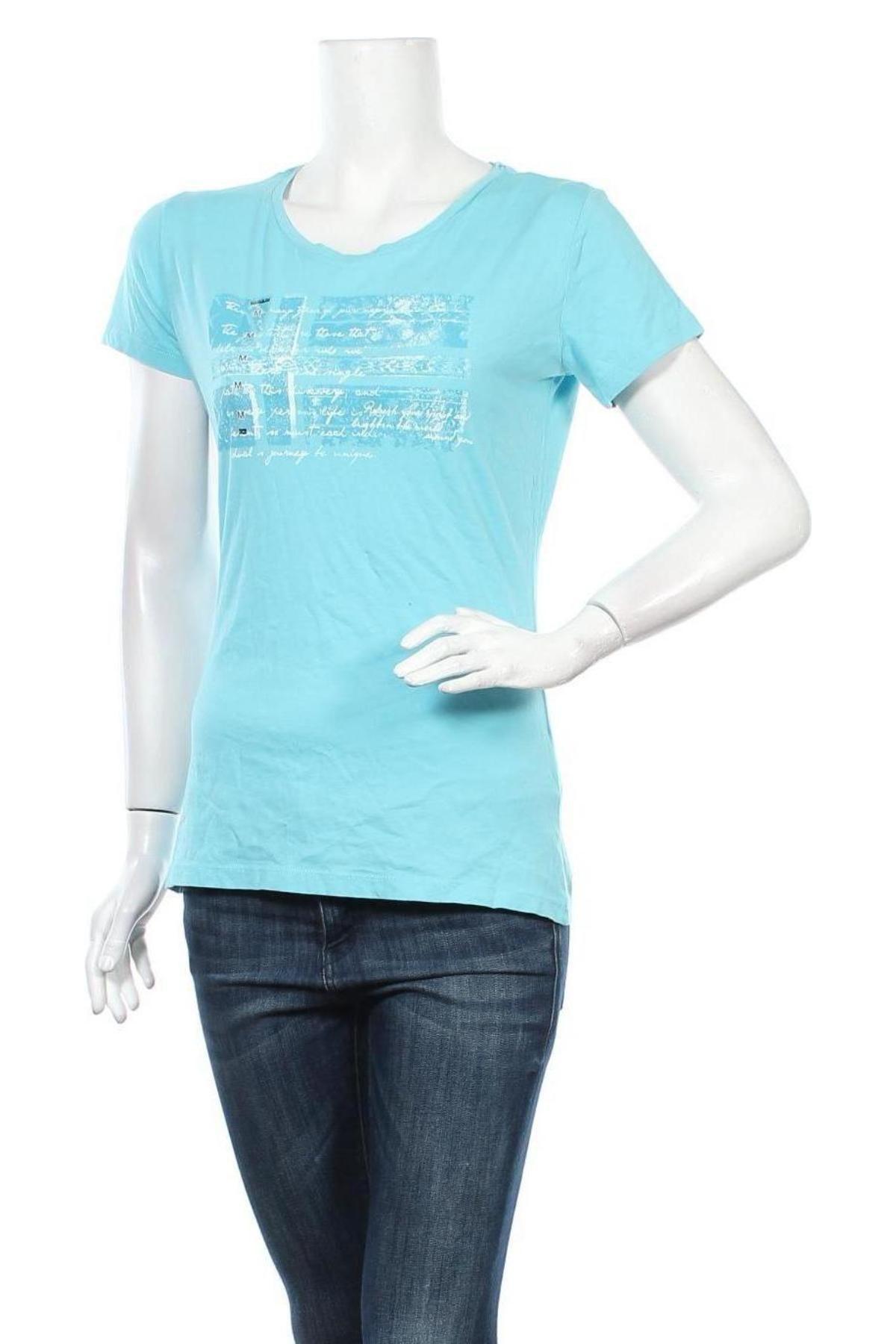 Дамска тениска Napapijri, Размер M, Цвят Син, Памук, Цена 32,45лв.