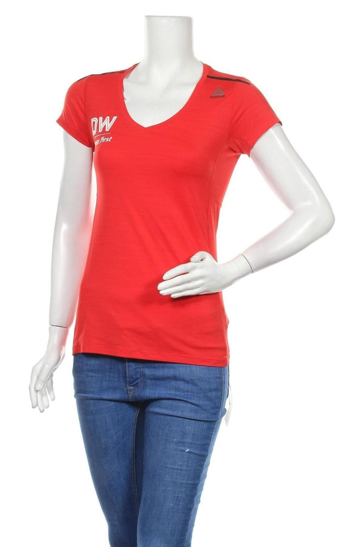 Дамска тениска Reebok, Размер S, Цвят Червен, 84% полиамид, 16% еластан, Цена 15,60лв.