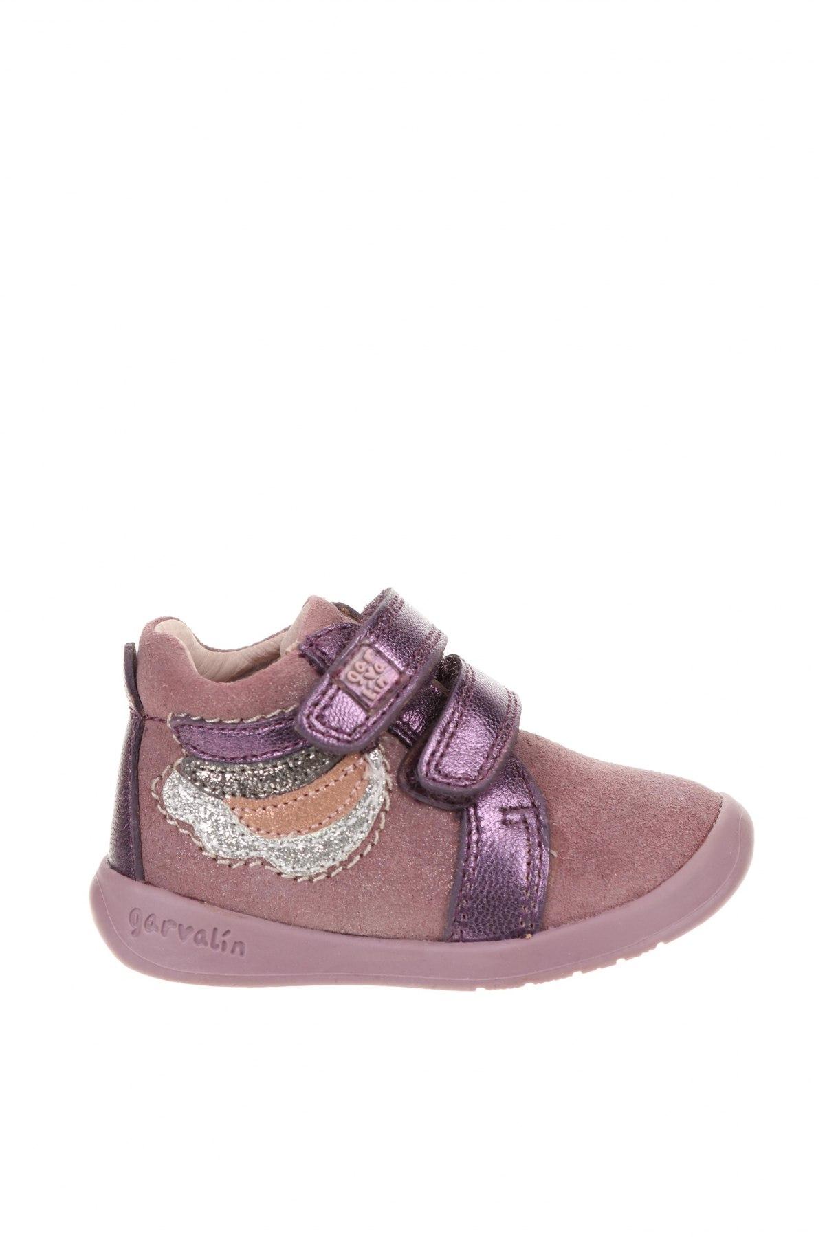 Детски обувки Garvalin, Размер 19, Цвят Лилав, Естествена кожа, естествен велур, Цена 33,60лв.