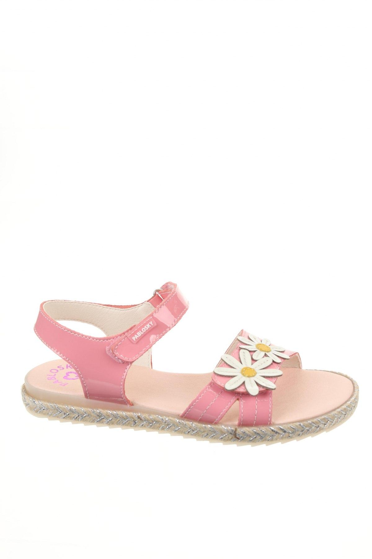Детски сандали Pablosky, Размер 35, Цвят Розов, Естествена кожа, Цена 41,87лв.