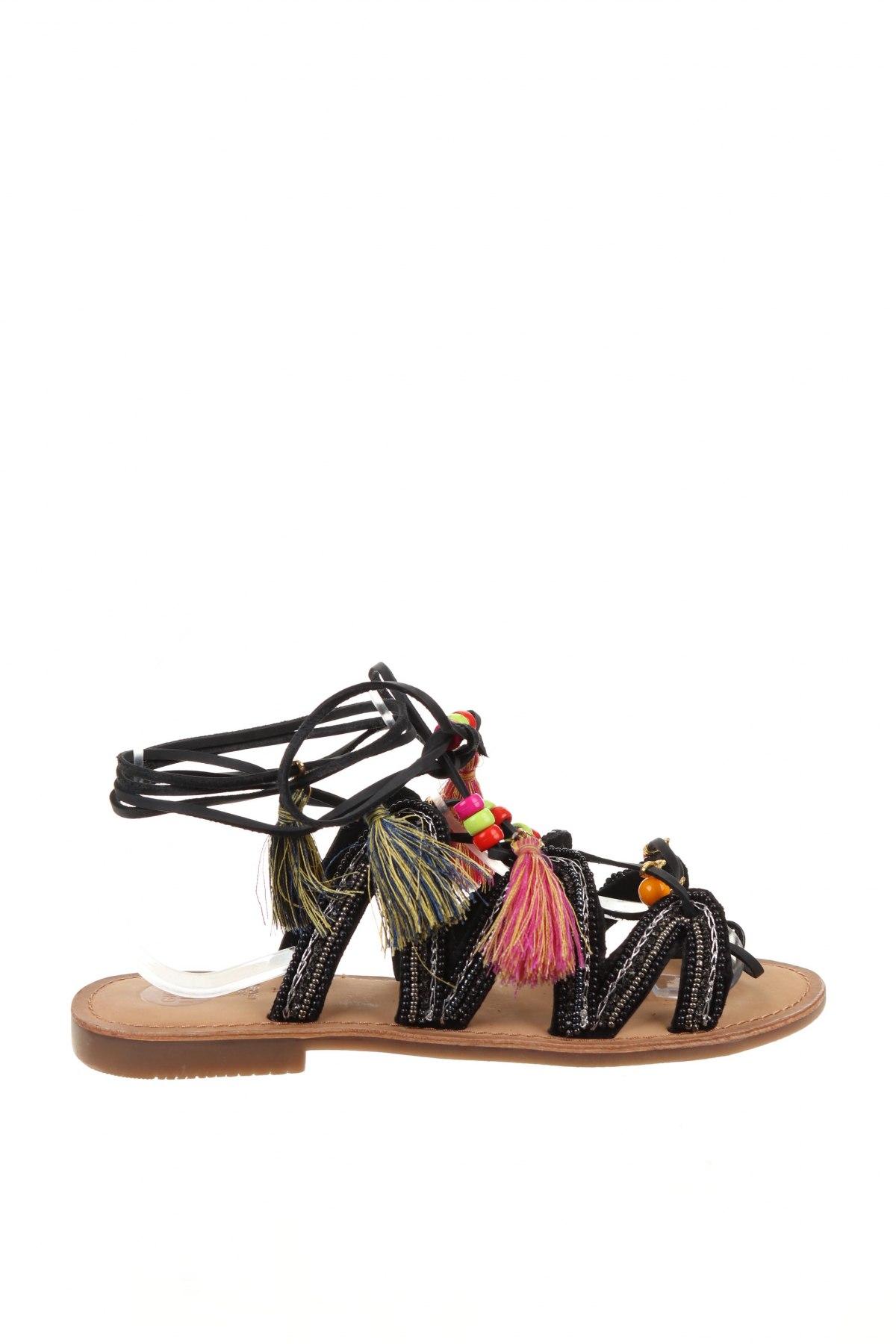 Сандали Gioseppo, Размер 37, Цвят Черен, Естествена кожа, текстил, Цена 44,50лв.