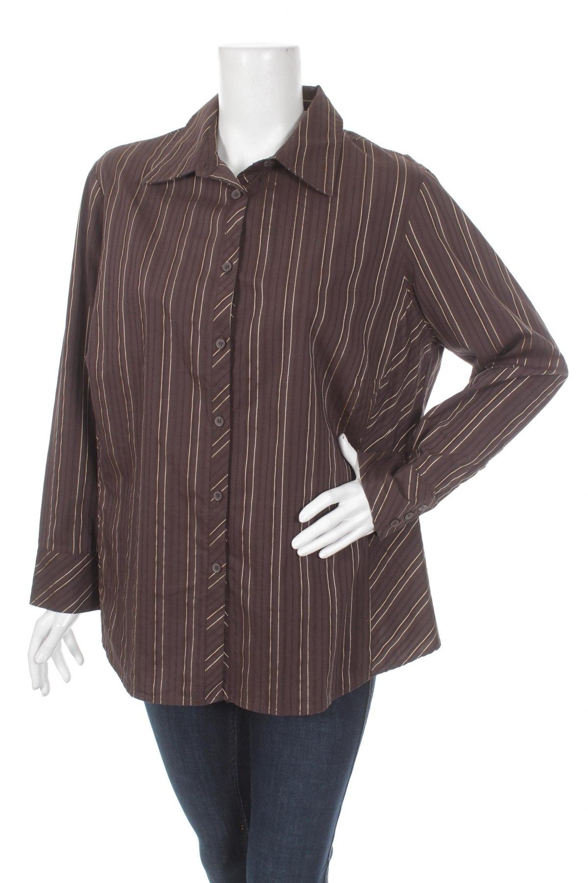 Γυναικείο πουκάμισο, Μέγεθος XL, Χρώμα Καφέ, Βαμβάκι, πολυεστέρας, Τιμή 20,10€