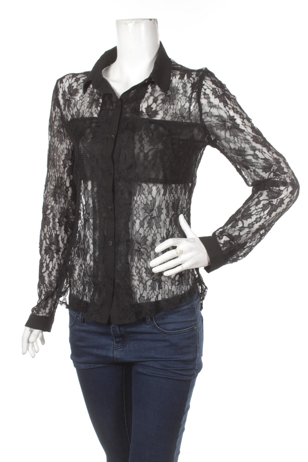 Γυναικείο πουκάμισο Tally Weijl, Μέγεθος M, Χρώμα Μαύρο, Τιμή 15,46€