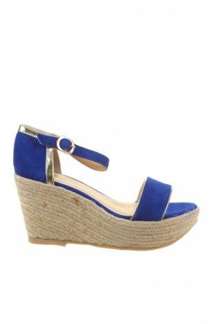 Sandale Pier One, Mărime 36, Culoare Albastru, Velur natural, Preț 50,67 Lei