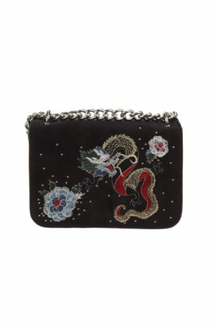Дамска чанта Parfois, Цвят Черен, Текстил, еко кожа, Цена 15,23лв.