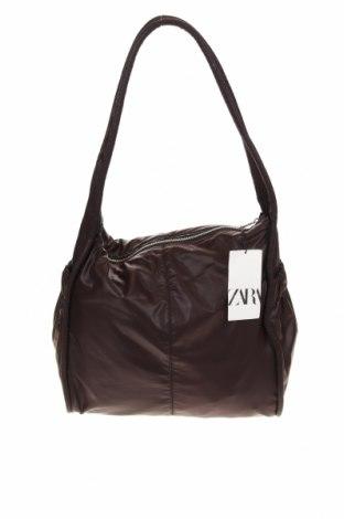 Дамска чанта Zara, Цвят Кафяв, Текстил, Цена 44,25лв.