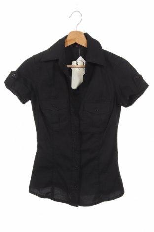 Γυναικείο πουκάμισο Ann Christine, Μέγεθος XS, Χρώμα Μαύρο, 97% βαμβάκι, 3% ελαστάνη, Τιμή 14,36€