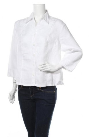 Γυναικείο πουκάμισο Bianca, Μέγεθος L, Χρώμα Λευκό, 100% λινό, Τιμή 16,89€