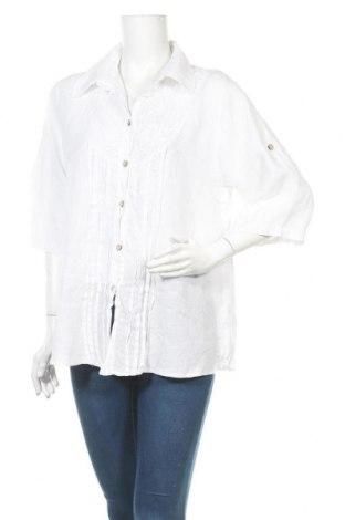 Γυναικείο πουκάμισο Made In Italy, Μέγεθος L, Χρώμα Λευκό, Λινό, Τιμή 9,94€