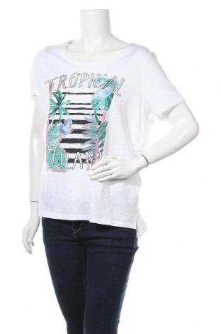 Γυναικείο t-shirt Comma,, Μέγεθος XL, Χρώμα Λευκό, 52% βαμβάκι, 48% βισκόζη, Τιμή 30,54€