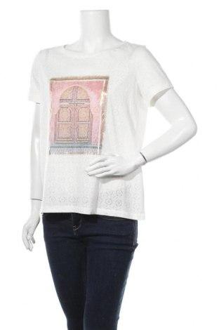 Γυναικείο t-shirt Comma,, Μέγεθος M, Χρώμα Λευκό, 65% πολυεστέρας, 35% βαμβάκι, Τιμή 30,54€