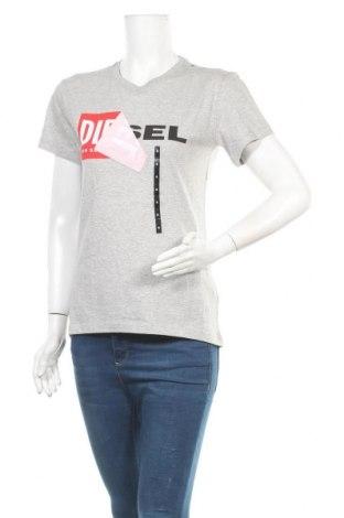 Дамска тениска Diesel, Размер S, Цвят Сив, Памук, Цена 66,75лв.