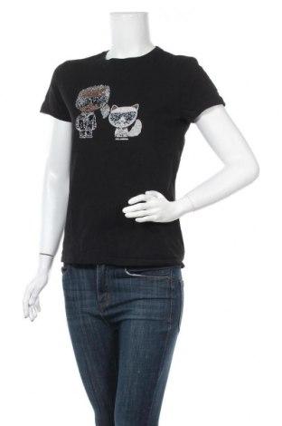 Γυναικείο t-shirt Karl Lagerfeld, Μέγεθος M, Χρώμα Μαύρο, Βαμβάκι, Τιμή 82,41€