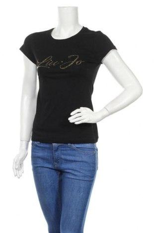 Γυναικείο t-shirt Liu Jo, Μέγεθος XS, Χρώμα Μαύρο, Βαμβάκι, Τιμή 30,54€