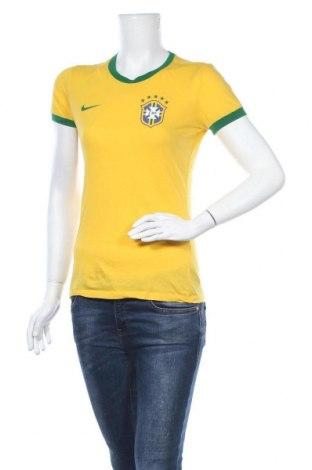 Дамска тениска Nike, Размер M, Цвят Жълт, Памук, Цена 21,84лв.