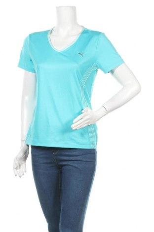 Дамска тениска PUMA, Размер M, Цвят Син, 87% полиестер, 13% еластан, Цена 20,48лв.